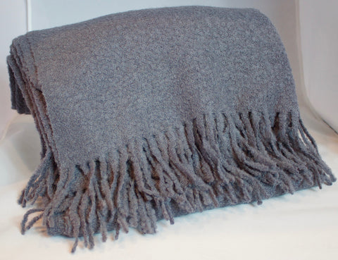 Boucle Alpaca Blanket with Fringe