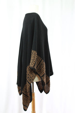 Black Hand Knit Pancho w/ Brown Patterned Accents
