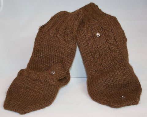 Warm Cable Knit Glittens in Chocolate Brown