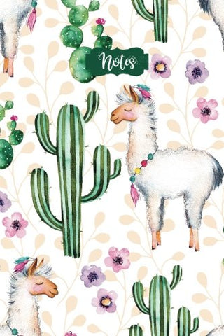Watercolor Llama Cactus Flower Design Cover Note Book