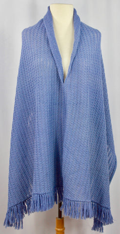 Hand Knit V-Neck Periwinkle Poncho