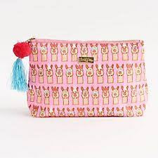 Llamas Pink Cosmetic Bag