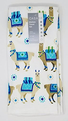 Casaba Set of 2 Kitchen Towels 100% Cotton - Tan Llamas on White