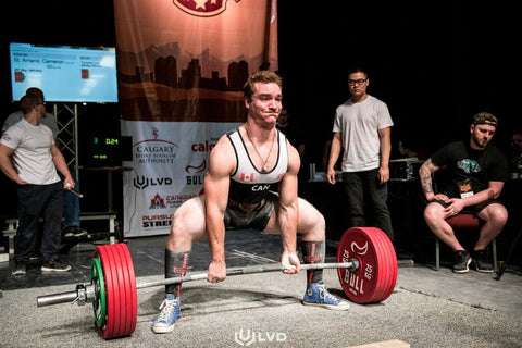Male Powerlifter Preparing to Lift Competitively