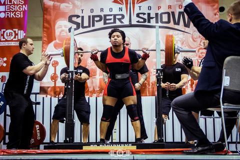 Male Powerlifter Competing at Toronto Super Show