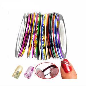 30 Multicolor Mixed Colors Rolls Striping Tape Line Nail Sticker DIY