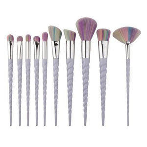 Rainbow Hair Unicorn Makeup Brushes Set (10 Pcs)