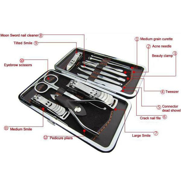 Deluxe 12 Piece Manicure Set with Carrying Case