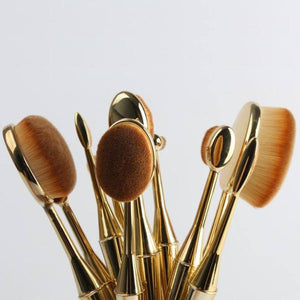 Mermaid Oval Makeup Brushes Set (10 Pcs)