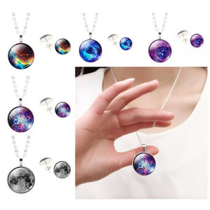 Cosmic Galaxy Glass Necklace & Earrings Set