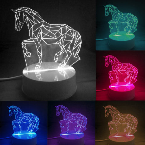 3D HORSE TABLETOP NIGHT LIGHT-6 COLOR CHANGING LAMP