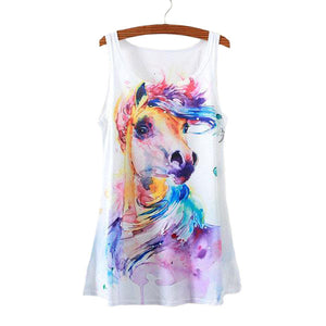 Horse Print Sleeveless T-Shirt