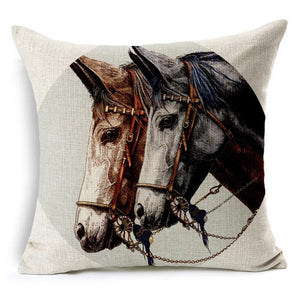 Vintage Horse Throw Pillow Cover