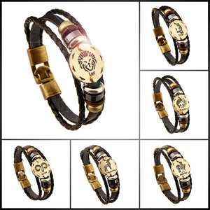 Engraved Zodiac Leather Bracelet