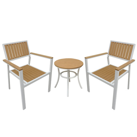 Patio Furniture Set with White Frame, Wood Finish
