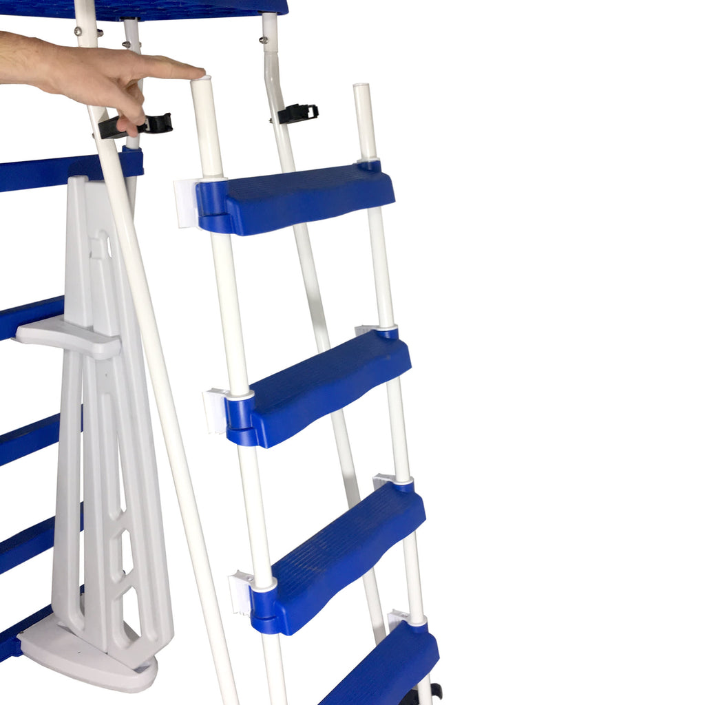 52-in A-Frame Ladder w/ Safety Barrier and Removable Steps for Above ...
