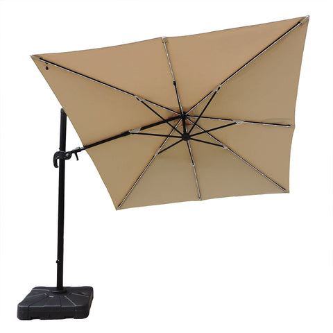 Santorini II Fiesta 10-ft Square Cantilever Solar LED Umbrella in Sunbrella Acrylic