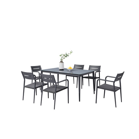 Bali 7-Piece Contemporary Outdoor Patio Dining Set - Slate Grey