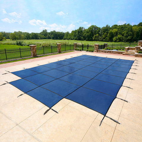 18-Year Mesh In-Ground Pool Safety Cover w/ Step Section - Blue