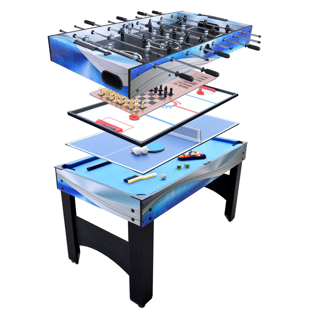 Matrix 54-In 7-in-1 Multi Game Table with Foosball, Pool, Glide Hockey, Table Tennis, Chess, Checkers and Backgammon