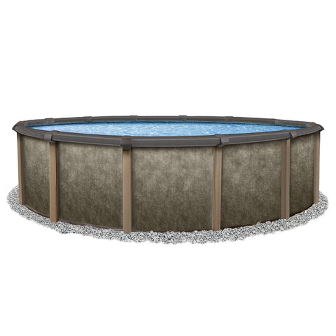 Riviera Round 54-in Deep Steel Wall Hybrid Above Ground Pool w/ 8-in Top Rail