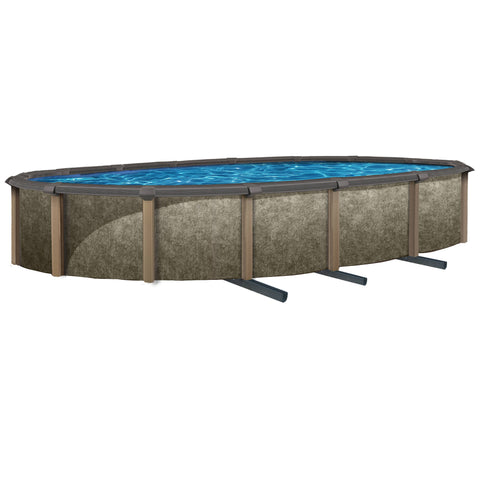 Riviera Oval 54-in Deep Steel Wall Hybrid Above Ground Pool w/ 8-in Top Rail