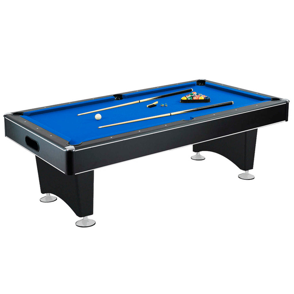 Hustler Pool Table with Blue Felt, Internal Ball Return System, Easy Assembly, Pool Cues and Chalk