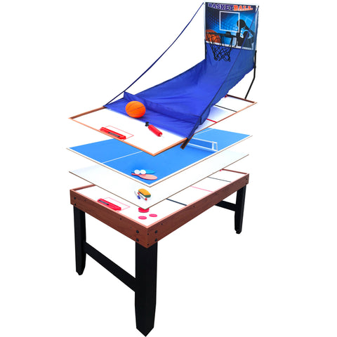 Accelerator 4-in-1 Multi-Game Table with Basketball, Air Hockey, Table Tennis and Dry Erase Board for Kids and Families