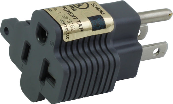 AC WORKS [M515520] 15 Amp to 20Amp T-Blade Adapter UL,C-UL Approval