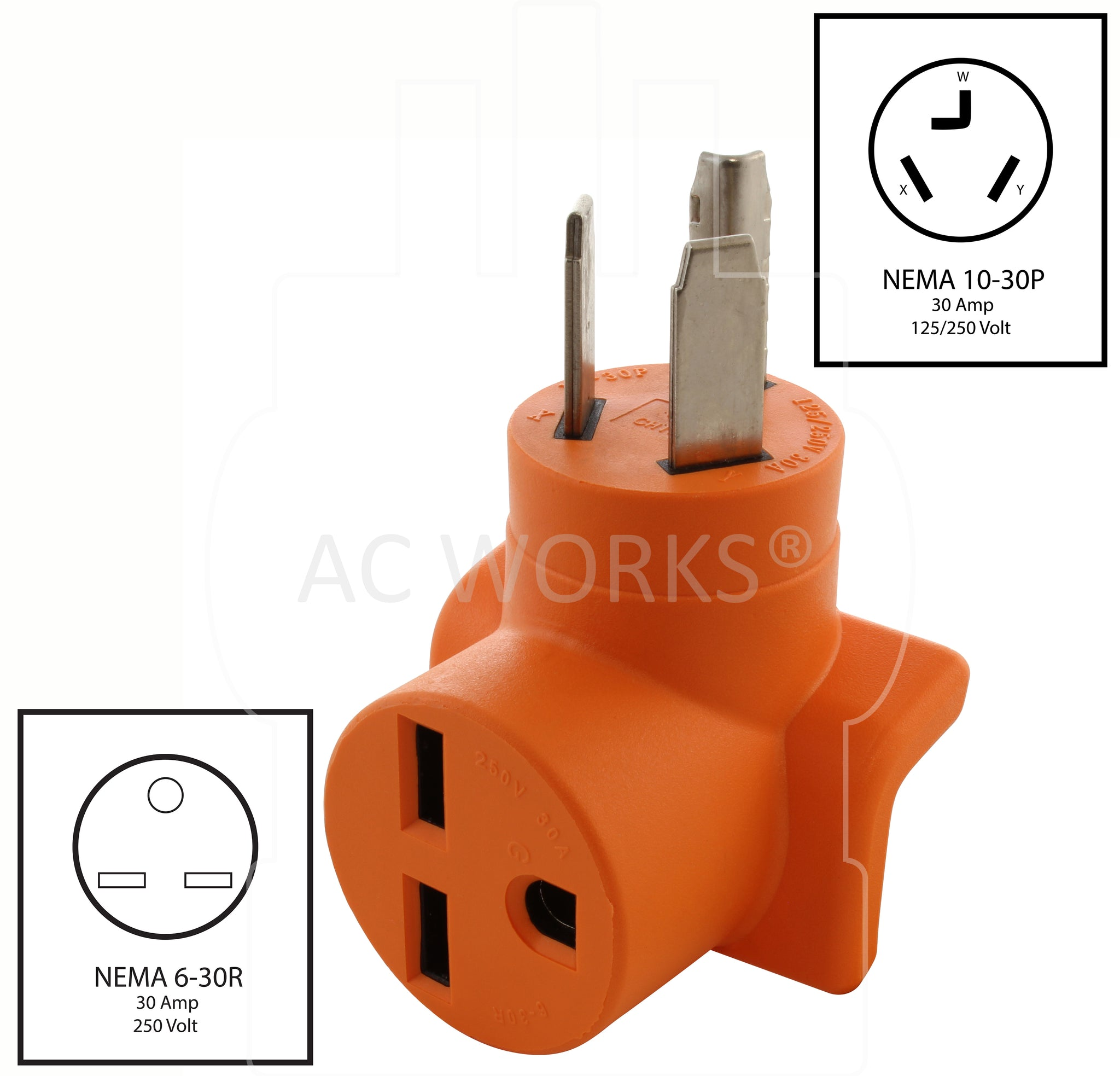 30 Amp NEMA 10-30P to 30 Amp NEMA 6-30R Electrical Outlet Adapter by AC WORKS®