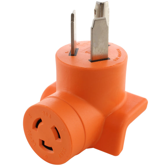 orange right angle adapter, 90 degree adapter, industrial adapter, dryer outlet to power tool adapter