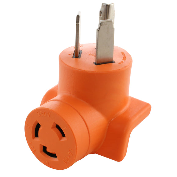 90 degree adapter by AC WORKS, right angle adapter, AC Connectors orange adapter
