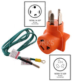 NEMA 14-30P to NEMA 10-30R, 1430 plug to 1030 connector, 4-prong dryer plug to 3-prong dryer connector, old style dryer to new style dryer outlet