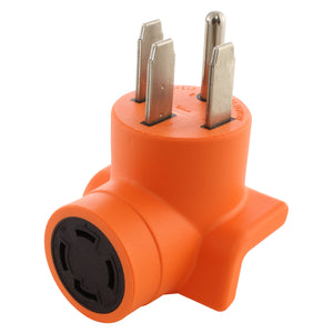 orange adapter, compact adapter, right angle adapter, 90 degree adapter, AC WORKS, AC Connectors