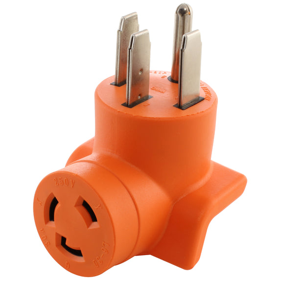 compact adapter, orange adapter, right angle adapter, 90 degree adapter, AC WORKS, AC Connectors
