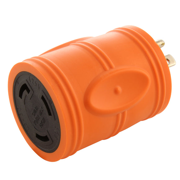 AC WORKS orange adapter, twist lock adapter