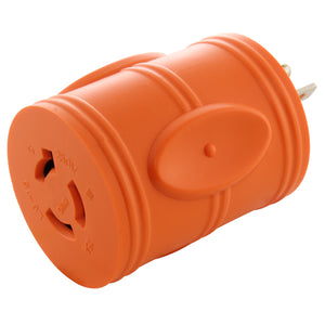 AC Works, twist lock adapter, orange adapter