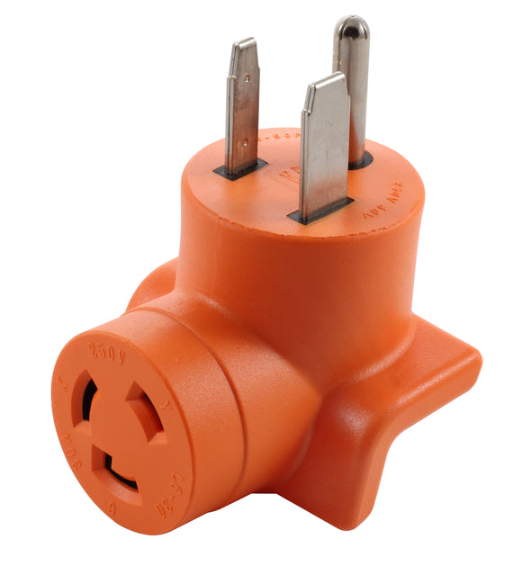AC WORKS, AC Connectors, orange adapter, right angle adapter, 90 degree adapter, compact adapter
