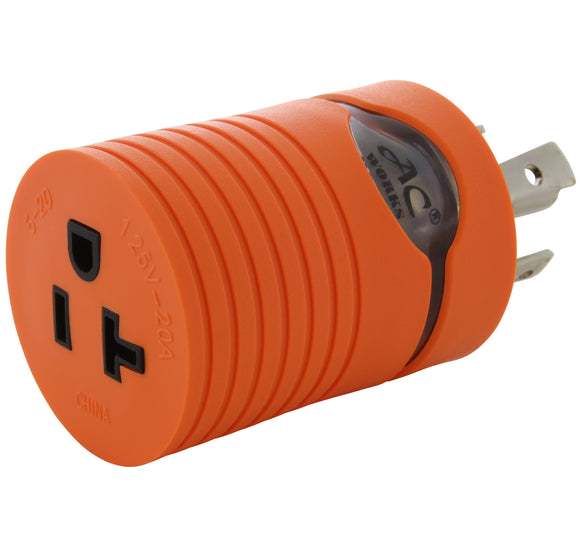 AC Works, orange adapter, locking industrial adapter