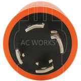 AC Connectors, AC Works, orange adapter, NEMA L14-30P, L14-30P, L1430P, L1430, 30 Amp 125/250 Volt locking plug