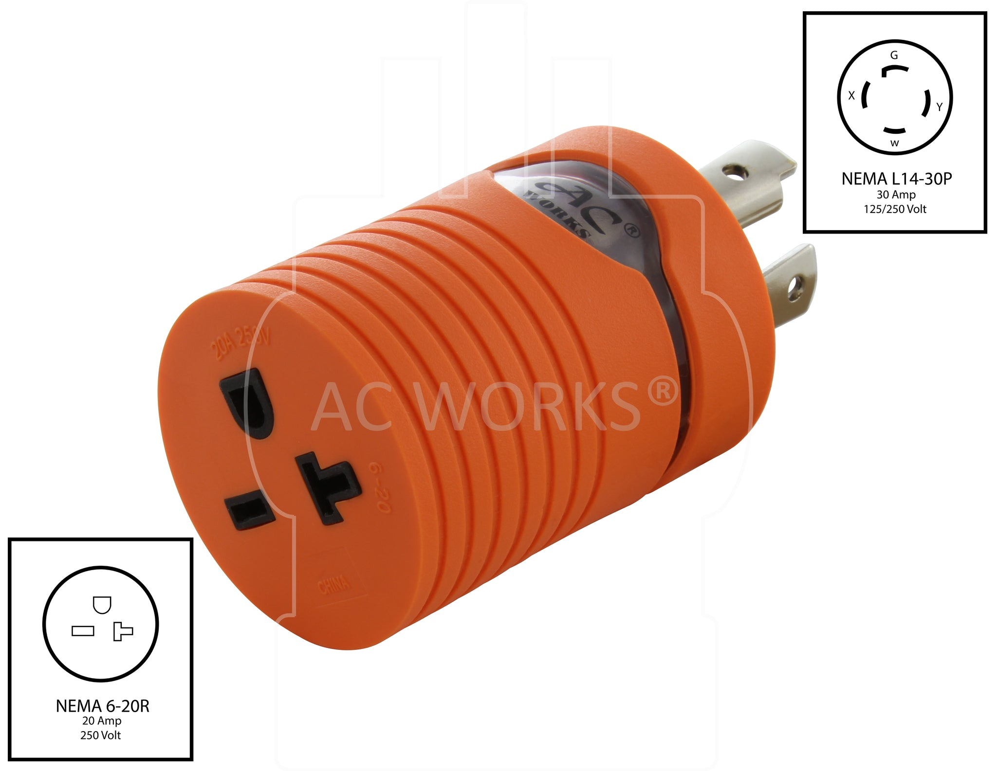 Nema L14 30p 30amp 125 250volt 4 Prong Locking To 6 15 20r 250v Wiring Diagram For 20p Plug Ac Works