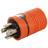 AC WORKS® [ADL1430L1420] 30A 4-Prong 125/250V L14-30P Plug to L14-20R 20A 4-Prong 125/250V Connector