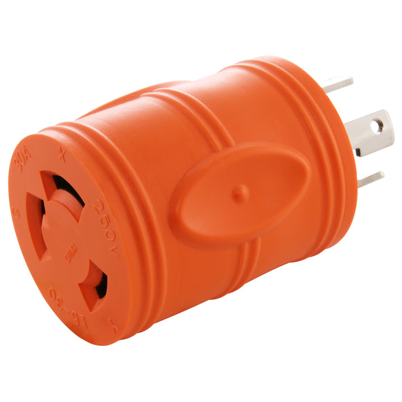 AC Works brand orange, compact, electrical adapter, barrel adapter