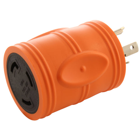 AC Works, AC Connectors, ADL520L530, Orange Adapter, NEMA L5-30R, NEMA L5-20P, RV Generator Adapter, Marine Shore Power Adapter, Industrial Adapter, Generator Adapter