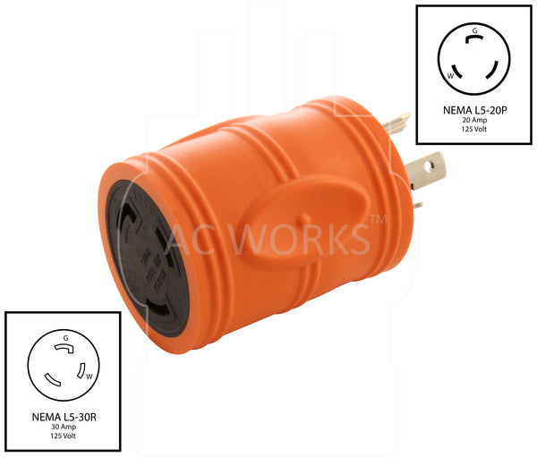 AC WORKS [ADL520L530] Locking Adapter L5-20P 20Amp 125V Locking Plug to L5-30R 30Amp 3 Prong Locking Female Connector