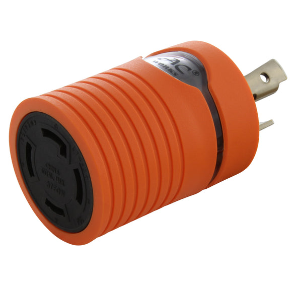 AC WORKS® [ADL530L1430] Adapter L5-30P to L14-30R (Hots Bridged) 30A 125V to 30A 125/250V