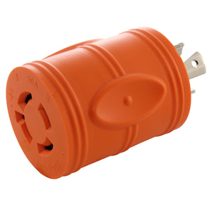 compact barrel adapter, compact orange adapter, locking adapter, generator adapter, AC WORKS, AC Connectors