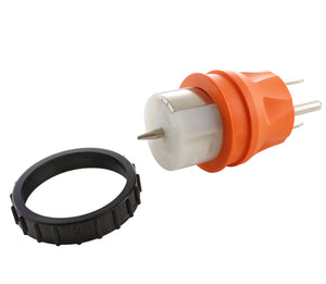 transfer switch adapter, orange adapter, locking adapter, emergency power adapter, adapter with threaded ring