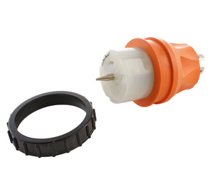orange adapter, transfer switch adapter, temp power adapter, locking adapter, adapter with threaded ring, AC WORKS, AC Connectors