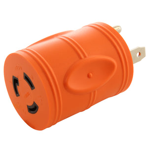barrel style RV adapter, compact adapter, orange adapter, AC WORKS, AC Connectors, locking adapter